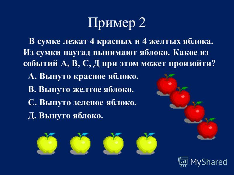 Пример 2 В сумке лежат 4 красных и 4 желтых яблока. Из сумки наугад вынимают яблоко. Какое из событий А, В, С, Д при этом может произойти? А. Вынуто красное яблоко. В. Вынуто желтое яблоко. С. Вынуто зеленое яблоко. Д. Вынуто яблоко.