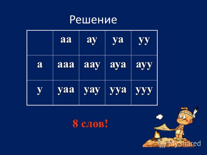 Решение аааууауу аааааауауаауу ууаауауууаууу 8 слов!
