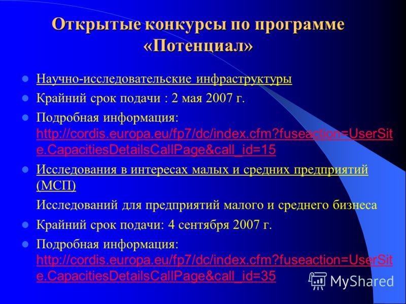 Открытые конкурсы по программе «Потенциал» Научно-исследовательские инфраструктуры Крайний срок подачи : 2 мая 2007 г. Подробная информация: http://cordis.europa.eu/fp7/dc/index.cfm?fuseaction=UserSit e.CapacitiesDetailsCallPage&call_id=15 http://cor