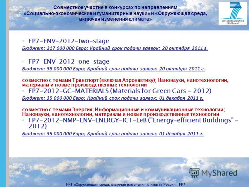 Совместное участие в конкурсах по направлениям «Социально-экономические и гуманитарные науки» и «Окружающая среда, включая изменения климата» НКТ «Окружающая среда, включая изменения климата» Россия - FP7 FP7-ENV-2012-two-stage Бюджет: 217 000 000 Ев