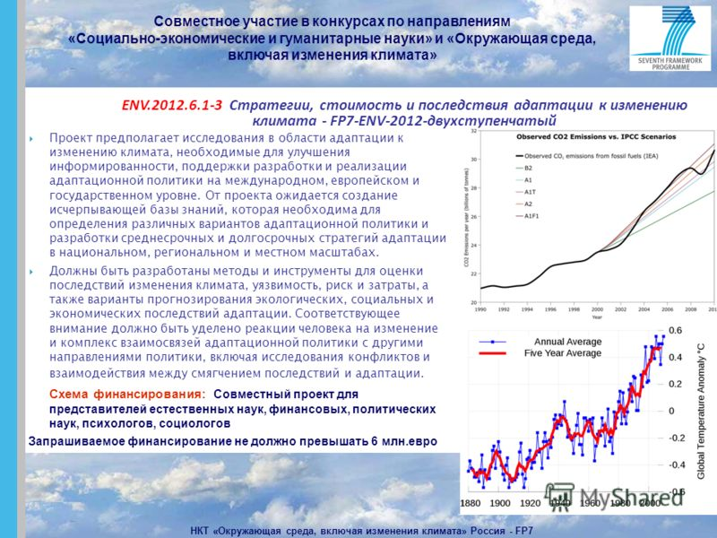 Совместное участие в конкурсах по направлениям «Социально-экономические и гуманитарные науки» и «Окружающая среда, включая изменения климата» НКТ «Окружающая среда, включая изменения климата» Россия - FP7 Проект предполагает исследования в области ад