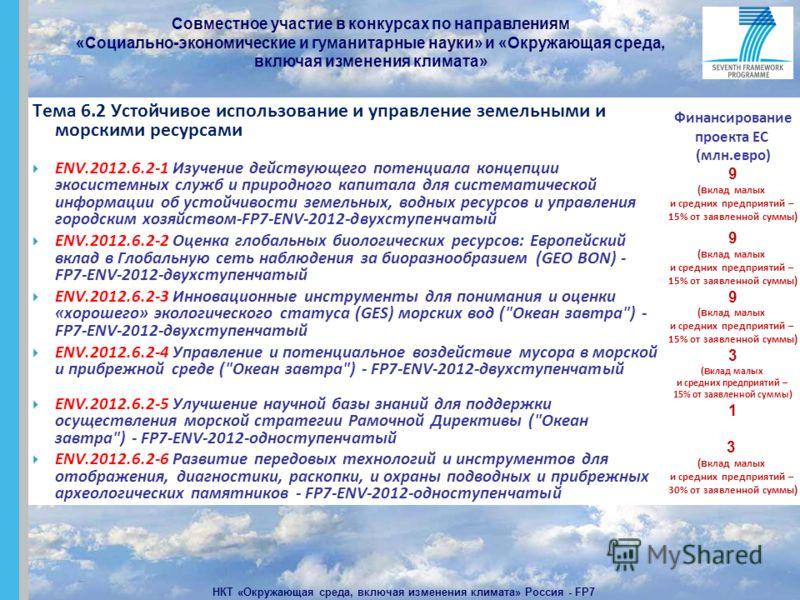 Совместное участие в конкурсах по направлениям «Социально-экономические и гуманитарные науки» и «Окружающая среда, включая изменения климата» НКТ «Окружающая среда, включая изменения климата» Россия - FP7 Тема 6.2 Устойчивое использование и управлени