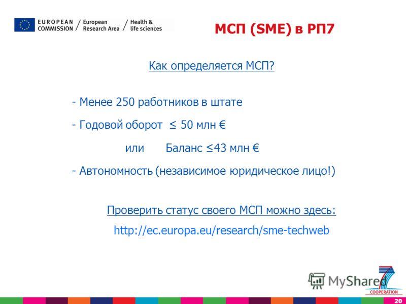 20 Как определяется МСП? - Менее 250 работников в штате - Годовой оборот 50 млн или Баланс 43 млн - Автономность (независимое юридическое лицо!) Проверить статус своего МСП можно здесь: http://ec.europa.eu/research/sme-techweb МСП (SME) в РП7