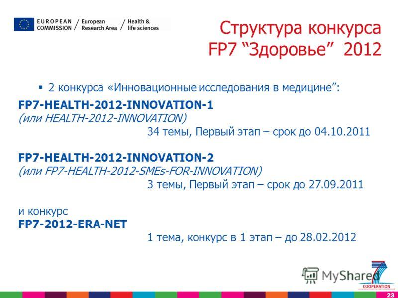 23 2 конкурса «Инновационные исследования в медицине: FP7-HEALTH-2012-INNOVATION-1 (или HEALTH-2012-INNOVATION) 34 темы, Первый этап – срок до 04.10.2011 FP7-HEALTH-2012-INNOVATION-2 (или FP7-HEALTH-2012-SMEs-FOR-INNOVATION) 3 темы, Первый этап – сро