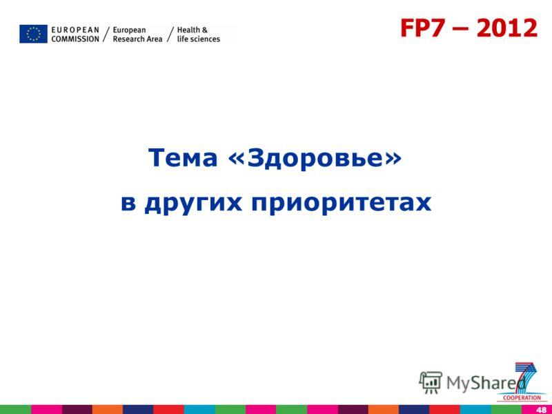 48 FP7 – 2012 Тема «Здоровье» в других приоритетах