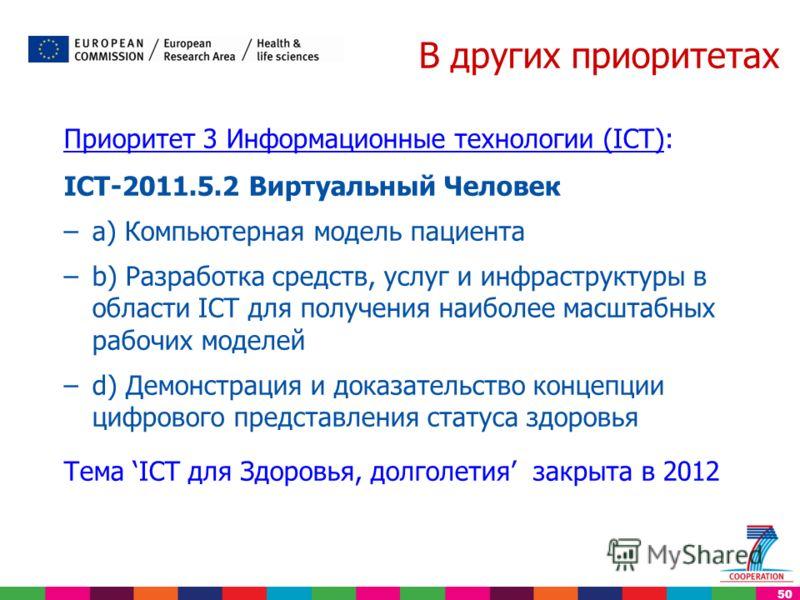 50 В других приоритетах Приоритет 3 Информационные технологии (ICT): ICT-2011.5.2 Виртуальный Человек –a) Компьютерная модель пациента –b) Разработка средств, услуг и инфраструктуры в области ICT для получения наиболее масштабных рабочих моделей –d)