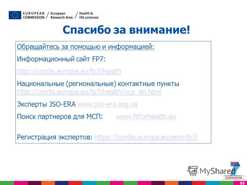 53 Обращайтесь за помощью и информацией: Информационный сайт FP7: http://cordis.europa.eu/fp7/health Национальные (региональные) контактные пункты http://cordis.europa.eu/fp7/health/ncp_en.html http://cordis.europa.eu/fp7/health/ncp_en.html Эксперты