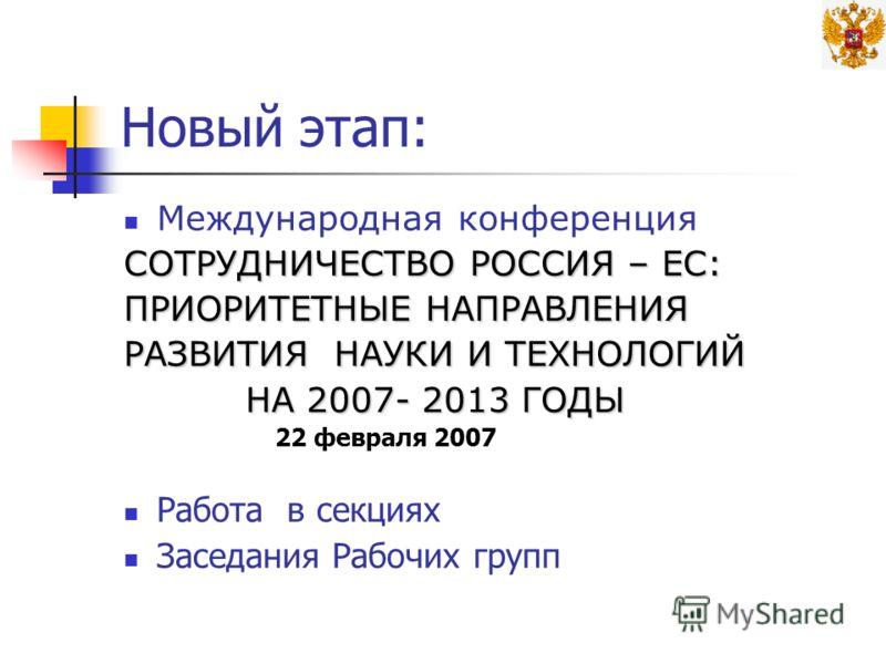 Новый этап: Международная конференция СОТРУДНИЧЕСТВО РОССИЯ – ЕС: ПРИОРИТЕТНЫЕ НАПРАВЛЕНИЯ РАЗВИТИЯ НАУКИ И ТЕХНОЛОГИЙ НА 2007- 2013 ГОДЫ НА 2007- 2013 ГОДЫ 22 февраля 2007 Работа в секциях Заседания Рабочих групп