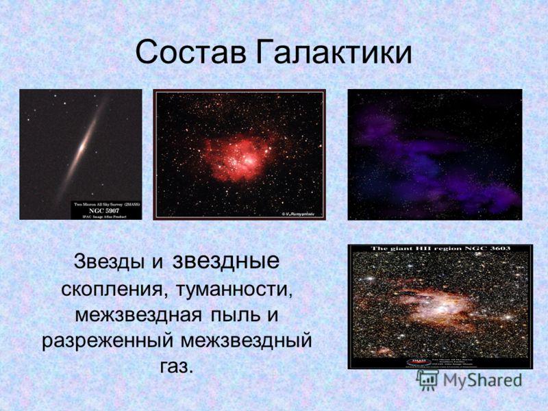Состав Галактики Звезды и звездные скопления, туманности, межзвездная пыль и разреженный межзвездный газ.