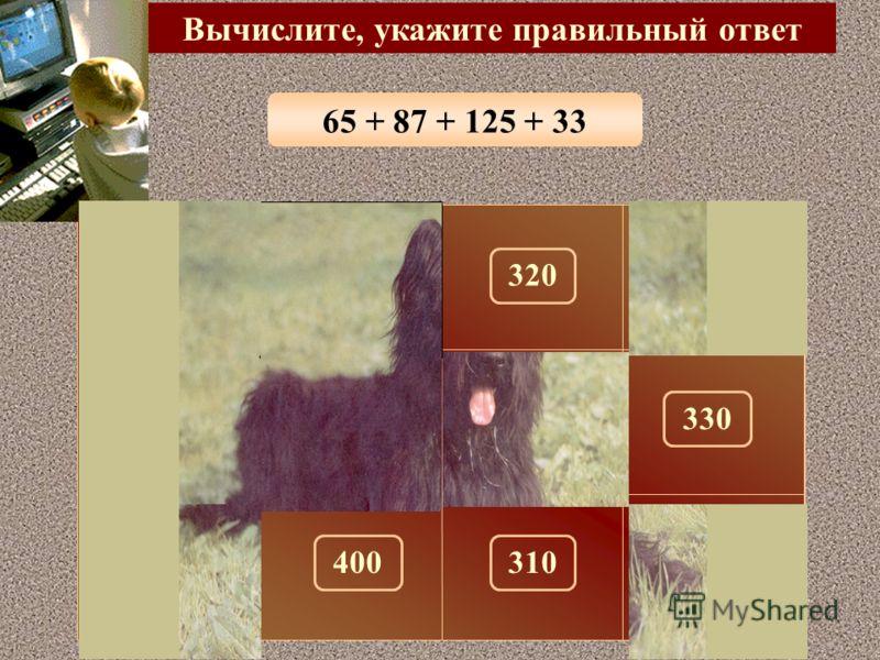 49 + 177 + 61 + 13 Вычислите, укажите правильный ответ 300 150 320290100 180330280 260310270400