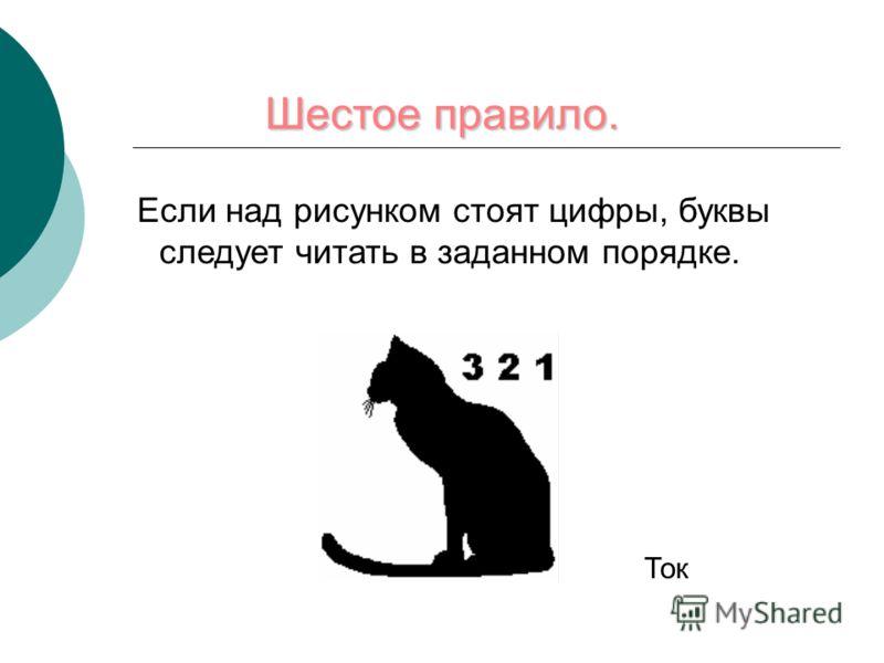 Шестое правило. Если над рисунком стоят цифры, буквы следует читать в заданном порядке. Ток