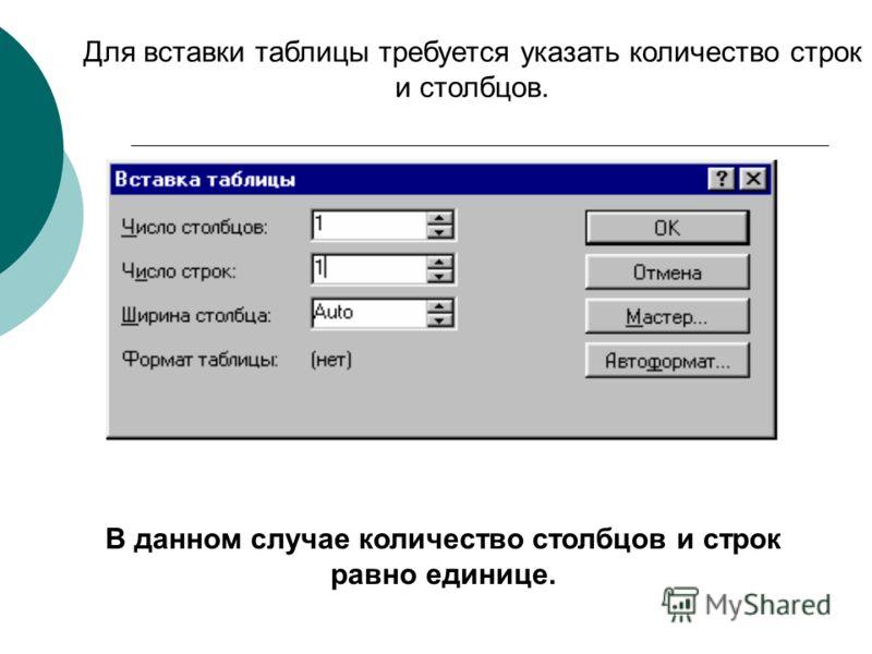 Для вставки таблицы требуется указать количество строк и столбцов. В данном случае количество столбцов и строк равно единице.