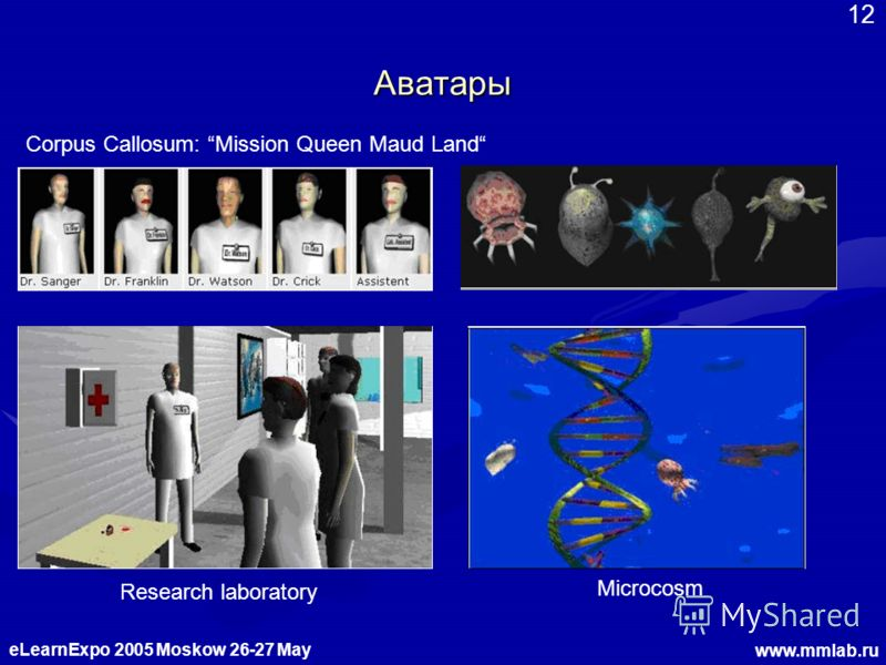 eLearnExpo 2005 Moskow 26-27 May www.mmlab.ru 12 Аватары Research laboratory Microcosm Corpus Callosum: Mission Queen Maud Land