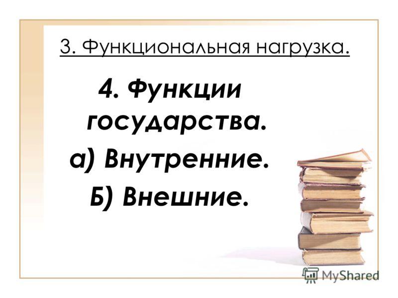 3. Функциональная нагрузка. 4. Функции государства. а) Внутренние. Б) Внешние.