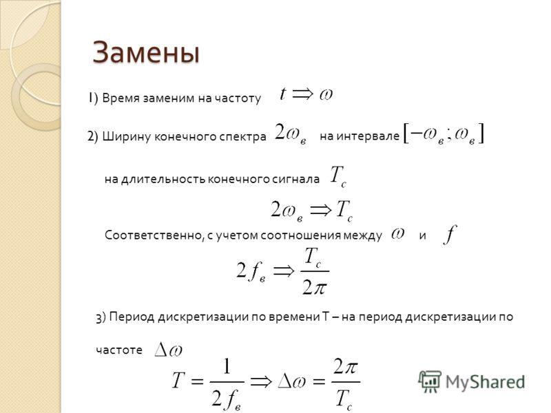 ДПФ конечной последовательности Какое количество точек выбрать ? Теорема Котельникова Суть теоремы Котельникова во временной области Замены Суть теоремы Котельникова в частотной области