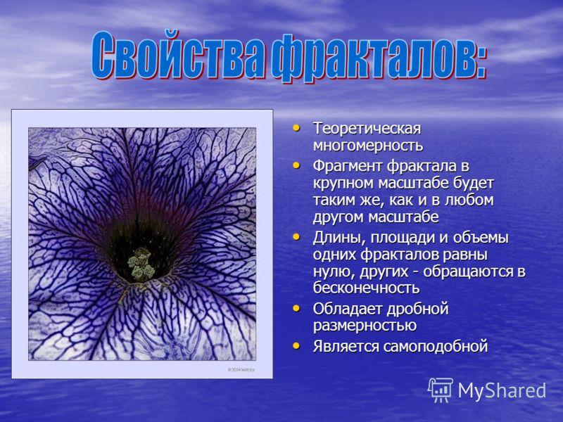Теоретическая многомерность Теоретическая многомерность Фрагмент фрактала в крупном масштабе будет таким же, как и в любом другом масштабе Фрагмент фрактала в крупном масштабе будет таким же, как и в любом другом масштабе Длины, площади и объемы одни