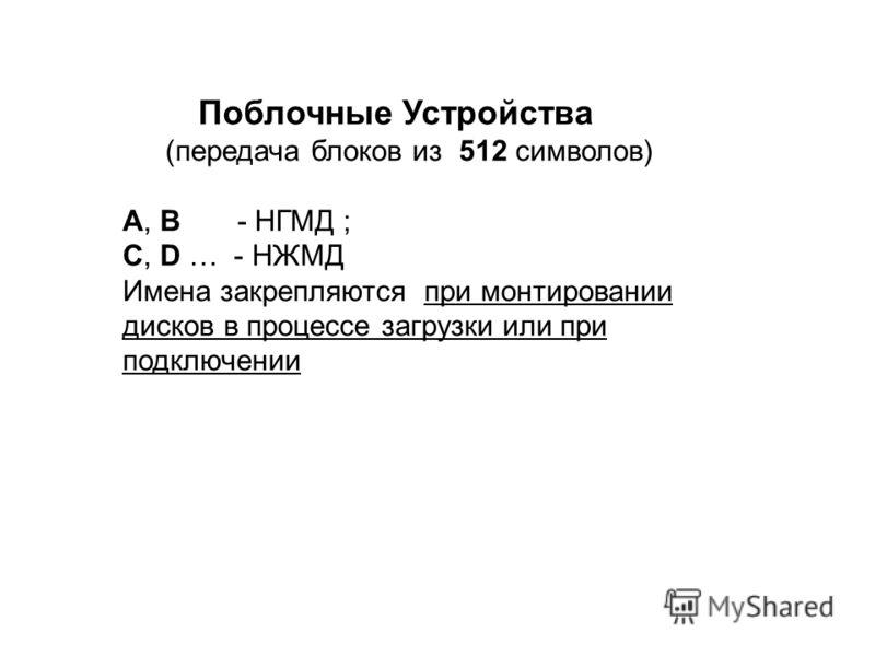 Поблочные Устройства (передача блоков из 512 символов) A, B - НГМД ; C, D … - НЖМД Имена закрепляются при монтировании дисков в процессе загрузки или при подключении