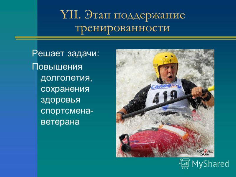 YII. Этап поддержание тренированности Решает задачи: Повышения долголетия, сохранения здоровья спортсмена- ветерана