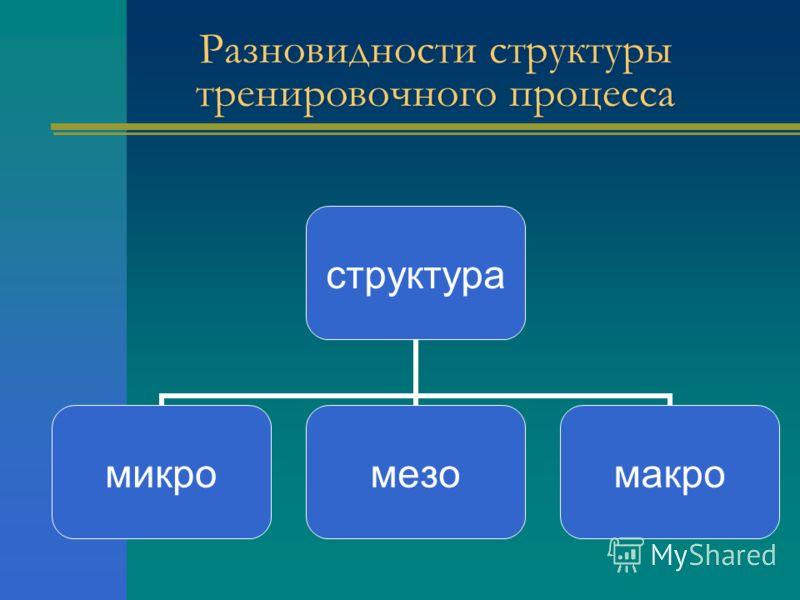 Разновидности структуры тренировочного процесса структура микромезомакро