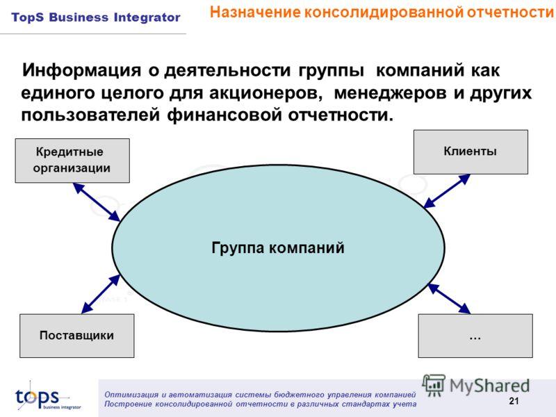 Оптимизация и автоматизация системы бюджетного управления компанией Построение консолидированной отчетности в различных стандартах учета 21 TopS Business Integrator Назначение консолидированной отчетности Информация о деятельности группы компаний как