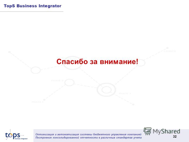 Оптимизация и автоматизация системы бюджетного управления компанией Построение консолидированной отчетности в различных стандартах учета 32 TopS Business Integrator Спасибо за внимание!