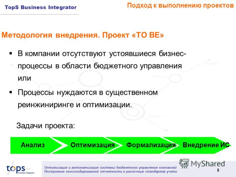Оптимизация и автоматизация системы бюджетного управления компанией Построение консолидированной отчетности в различных стандартах учета 5 TopS Business Integrator Методология внедрения. Проект «ТО ВЕ» В компании отсутствуют устоявшиеся бизнес- проце