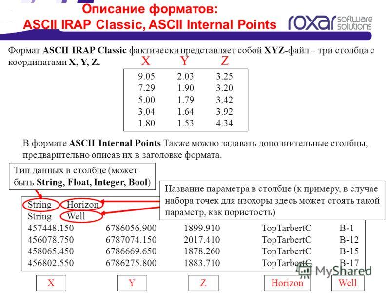 Описание форматов: ASCII IRAP Classic, ASCII Internal Points 9.052.033.25 7.291.903.20 5.001.793.42 3.041.643.92 1.801.534.34 Формат ASCII IRAP Classic фактически представляет собой XYZ-файл – три столбца с координатами X, Y, Z. X Y Z В формате ASCII