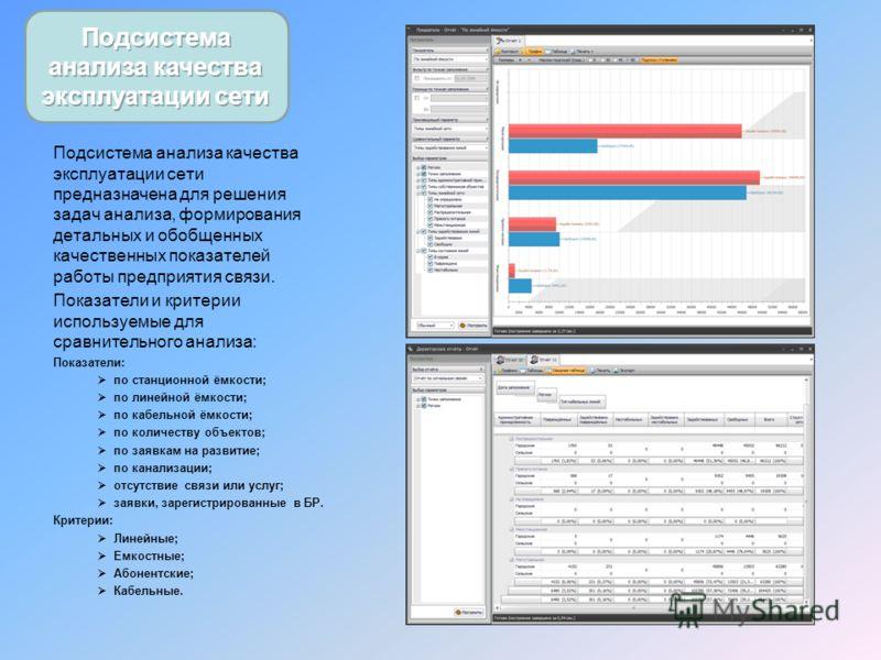 Подсистема анализа качества эксплуатации сети предназначена для решения задач анализа, формирования детальных и обобщенных качественных показателей работы предприятия связи. Показатели и критерии используемые для сравнительного анализа: Показатели: п