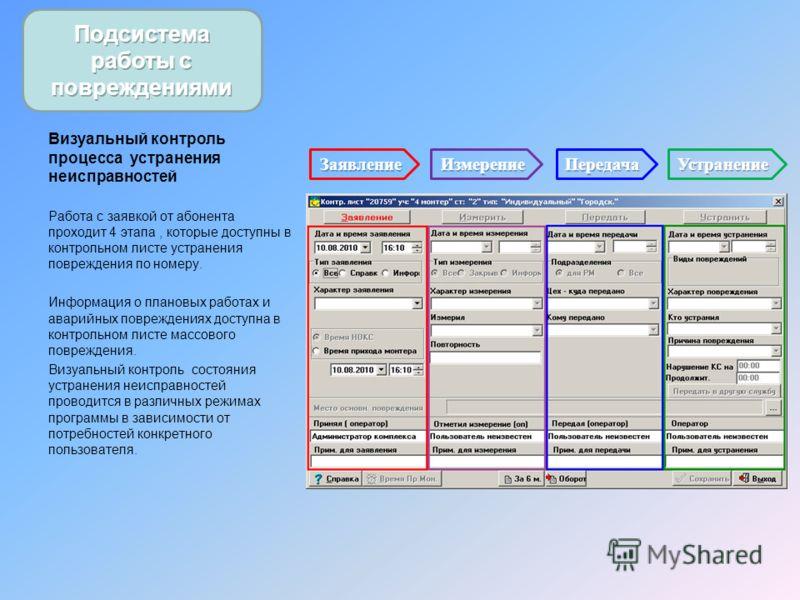 Визуальный контроль процесса устранения неисправностей Работа с заявкой от абонента проходит 4 этапа, которые доступны в контрольном листе устранения повреждения по номеру. Информация о плановых работах и аварийных повреждениях доступна в контрольном