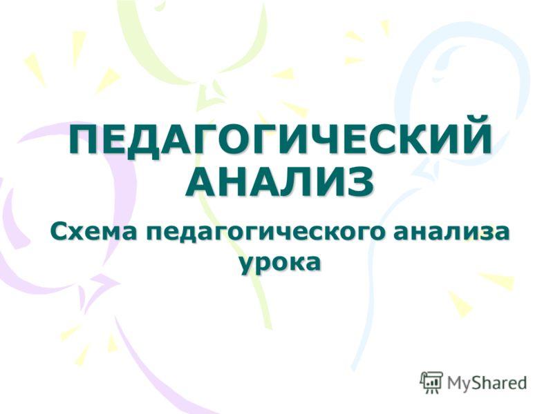 ПЕДАГОГИЧЕСКИЙ АНАЛИЗ Схема педагогического анализа урока