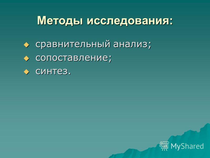 Методы исследования: сравнительный анализ; сравнительный анализ; сопоставление; сопоставление; синтез. синтез.