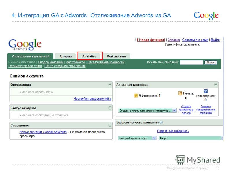 Google Confidential and Proprietary 15 4. Интеграция GA c Adwords. Отслеживание Adwords из GA