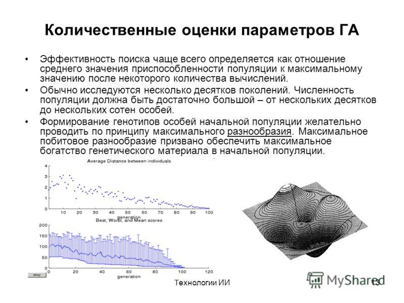 Технологии ИИ13 Количественные оценки параметров ГА Эффективность поиска чаще всего определяется как отношение среднего значения приспособленности популяции к максимальному значению после некоторого количества вычислений. Обычно исследуются несколько