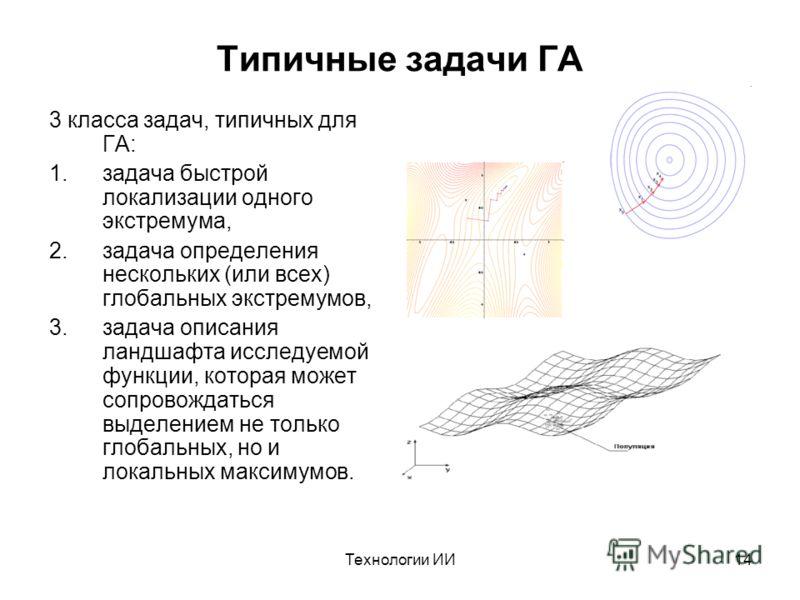 Технологии ИИ14 Типичные задачи ГА 3 класса задач, типичных для ГА: 1.задача быстрой локализации одного экстремума, 2.задача определения нескольких (или всех) глобальных экстремумов, 3.задача описания ландшафта исследуемой функции, которая может сопр