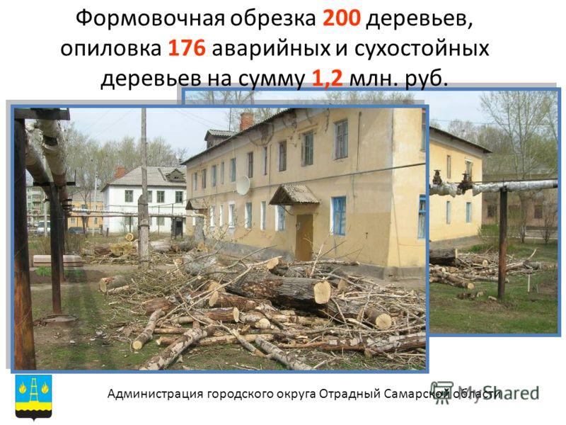 Формовочная обрезка 200 деревьев, опиловка 176 аварийных и сухостойных деревьев на сумму 1,2 млн. руб. Администрация городского округа Отрадный Самарской области