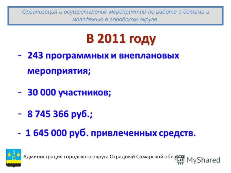 В 2011 году - 243 программных и внеплановых мероприятия; мероприятия; - 30 000 участников; - 8 745 366 руб. ; - 1 645 000 ру б. привлеченных средств. Администрация городского округа Отрадный Самарской области Организация и осуществление мероприятий п
