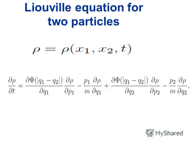 Liouville equation for two particles