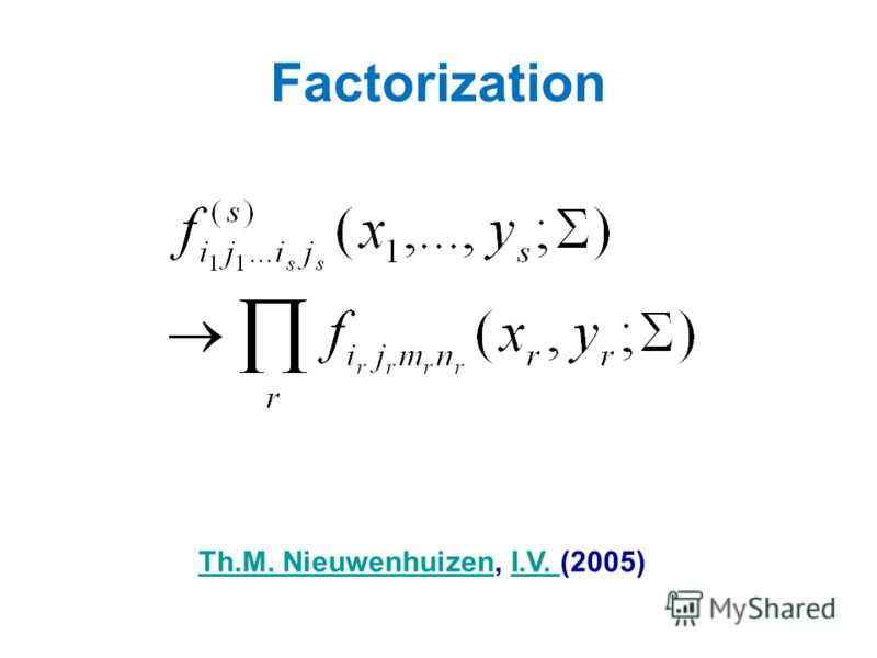 Factorization Th.M. NieuwenhuizenTh.M. Nieuwenhuizen, I.V. (2005)I.V.
