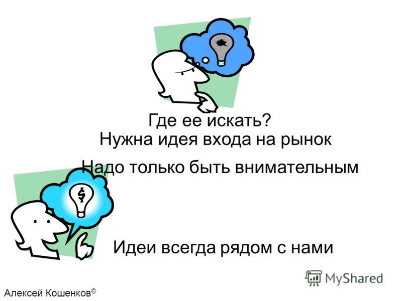 Нужна идея входа на рынок Где ее искать? Идеи всегда рядом с нами Алексей Кошенков © Надо только быть внимательным