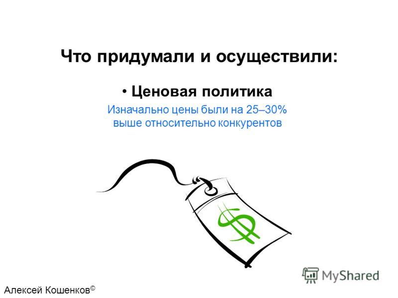 Ценовая политика Изначально цены были на 25–30% выше относительно конкурентов Что придумали и осуществили: Алексей Кошенков ©