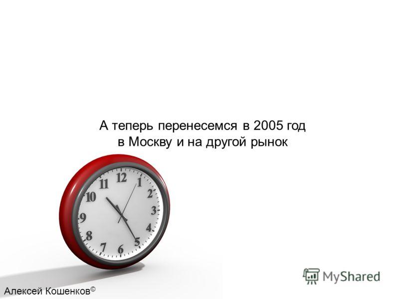 А теперь перенесемся в 2005 год в Москву и на другой рынок Алексей Кошенков ©