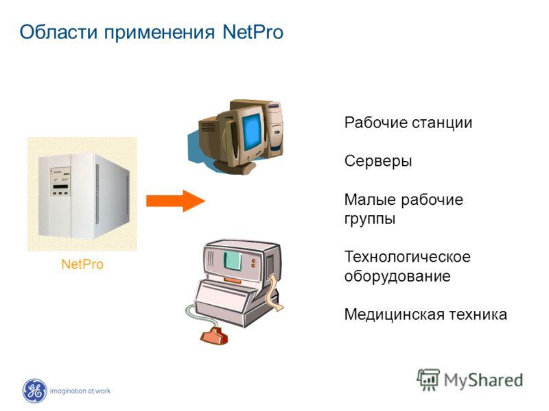Области применения NetPro NetPro Рабочие станции Серверы Малые рабочие группы Технологическое оборудование Медицинская техника