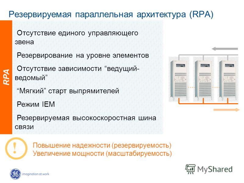 Резервируемая параллельная архитектура (RPA) RPA Повышение надежности (резервируемость) Увеличение мощности (масштабируемость) Отсутствие единого управляющего звена Резервирование на уровне элементов Отсутствие зависимости ведущий- ведомый Мягкий ста