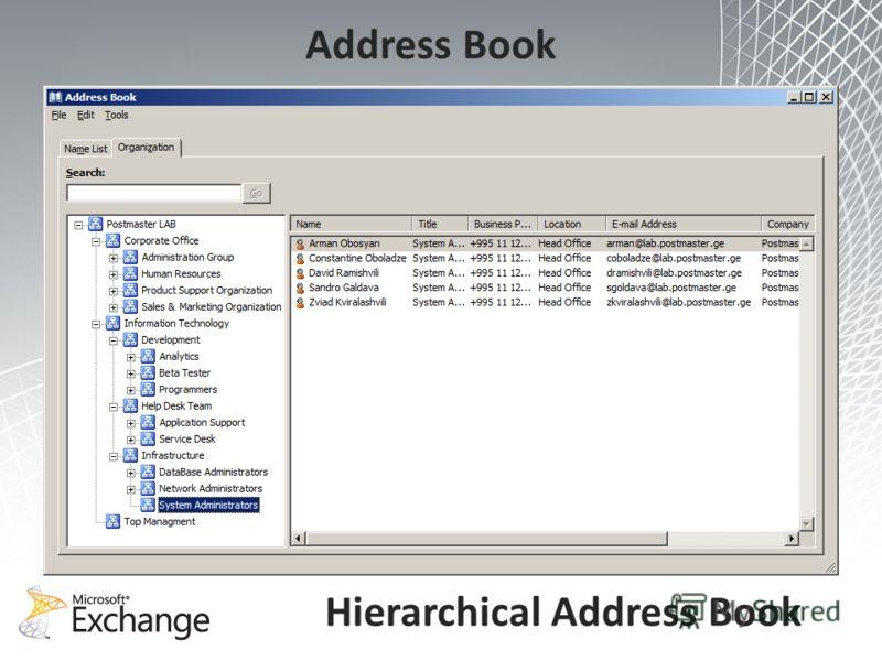 Hierarchical Address Book Address Book