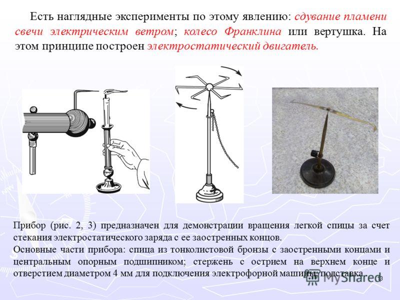 Есть наглядные эксперименты по этому явлению: сдувание пламени свечи электрическим ветром; колесо Франклина или вертушка. На этом принципе построен электростатический двигатель. Прибор (рис. 2, 3) предназначен для демонстрации вращения легкой спицы з