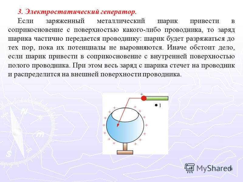 3. Электростатический генератор. Если заряженный металлический шарик привести в соприкосновение с поверхностью какого-либо проводника, то заряд шарика частично передается проводнику: шарик будет разряжаться до тех пор, пока их потенциалы не выровняют