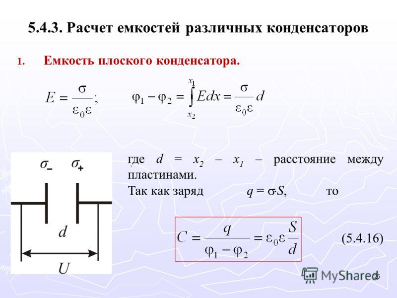 5.4.3. Расчет емкостей различных конденсаторов 1. 1. Емкость плоского конденсатора. где d = x 2 – x 1 – расстояние между пластинами. Так как зарядq = S,то (5.4.16), 25