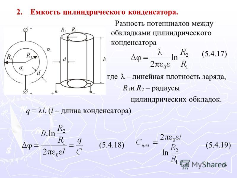 2. 2.Емкость цилиндрического конденсатора. Разность потенциалов между обкладками цилиндрического конденсатора (5.4.17) гдеλ – линейная плотность заряда, R 1 и R 2 – радиусы цилиндрических обкладок. q = λl, (l – длина конденсатора) (5.4.18) (5.4.19) 2