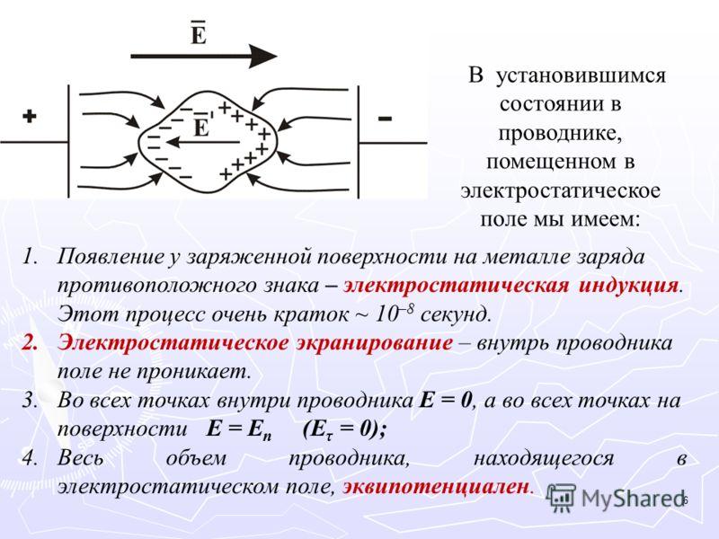 В установившимся состоянии в проводнике, помещенном в электростатическое поле мы имеем: 1.Появление у заряженной поверхности на металле заряда противоположного знака – электростатическая индукция. Этот процесс очень краток ~ 10 –8 секунд. 2.Электрост