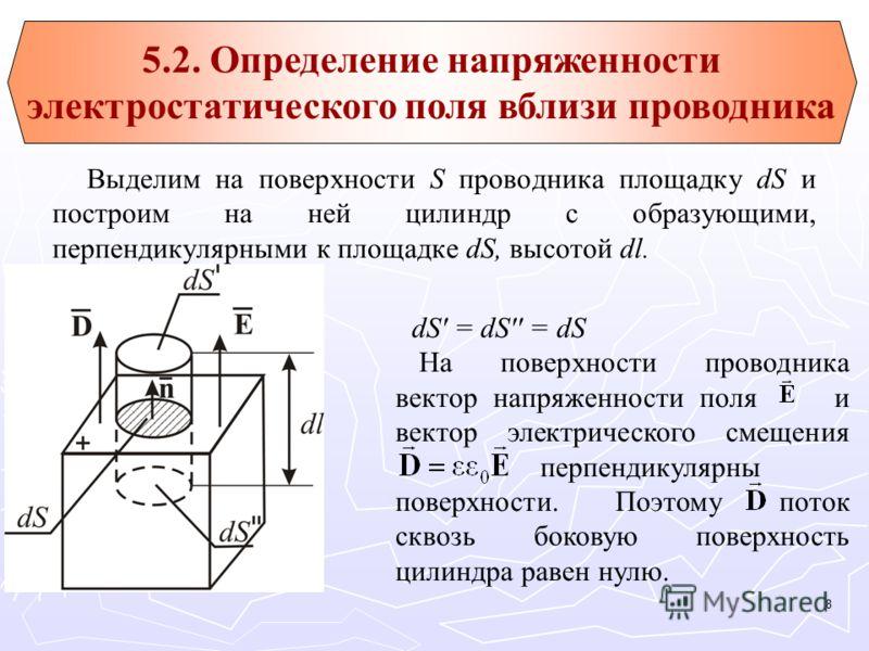Выделим на поверхности S проводника площадку dS и построим на ней цилиндр с образующими, перпендикулярными к площадке dS, высотой dl. dS' = dS'' = dS На поверхности проводника вектор напряженности поля и вектор электрического смещения перпендикулярны